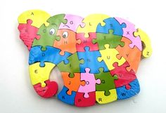 Wooden jigsaw/puzzle elephant with numbers and letters,colorful educational toy | eBay