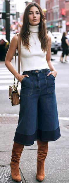 Denim Culottes Outfit Idea by Collage Vintage - Back in 70's Mum made me culottes and this is how I wore them for winter to church.