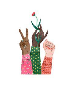 Bodil Jane | Folio illustration agency | https://folioart.co.uk/bodil-jane | #digital #illustration #hands #girlpower