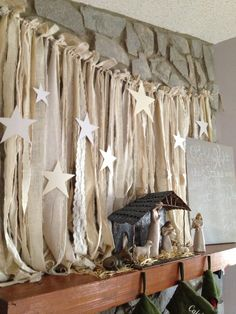 Neutral nativity,Mary Joseph Jesus, Willow tree angel,  Muslin, Burlap and lace Ribbon banner, Oh Holy Night canvas, Fireplace Mantel Christmas star manger scene Simple decorations