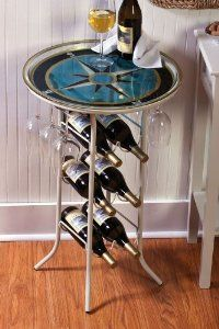 Sand Metal Bottle Table from Evergreen Enterprises, Inc - CellarsOfWine.com - Like, repin & share - Thanks! #Wine