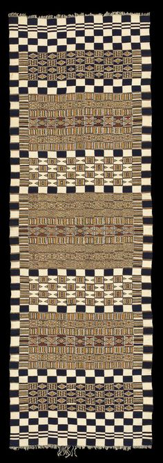 Africa | Arkilla Jenngo ~   Wedding Blanket or Tent Hanging |  Woven for the Tuareg by Fulani Weavers, Inland Delta Region, Mali or Niger | First half, 20th Century | Strip weave (15 strips), slit tapestry weave, plain weave  Handspun local wool and cotton, indigo and natural dyes