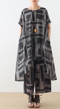 gray prints casual silk linen two pieces side open tops and elastic wa – SooLinen Long Linen Dresses, Long Summer Dresses, Short Sleeve Dresses, Boho Fashion, Fashion Dresses, Womens Fashion, Fashion Tips, Fashion Design, Steampunk Fashion
