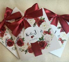 Zaproszenia ślubne bordowe Gift Wrapping, Tableware, Christmas, Gifts, Wedding, Inspiration, Ideas, Decor, Ticket Invitation