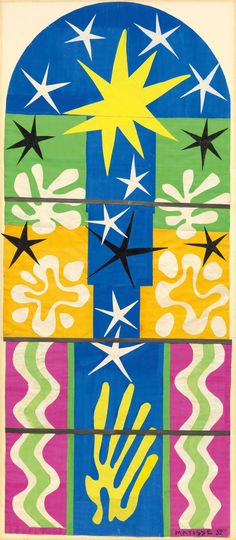 Henri Matisse. Nuit de Noël. 1952. Maquette for stained-glass window Gouache on paper, cut and pasted, mounted on board. 10'7″ x 53 1/2″ (322.8 x 135.9 cm). The Museum of Modern Art, New York.