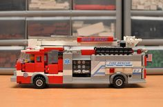 This listing is for a custom LEGO Fire Engine Truck. The item will be shipped fully built. It is 8 studs wide. This sale is for a Fan Made Lego Design, Truck Design, Lego City Fire, Lego Fire, Lego Bucket, Lego Ambulance, Lego Bathroom, Lego Truck, Cool Lego Creations