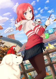 Anime picture  				1364x1922 with   		love live! school idol project  		sunrise (studio)  		nishikino maki  		yan  		tall image  		blush  		short hair  		open mouth  		fringe  		purple eyes  		sitting  		sky  		cloud (clouds)  		animal ears  		red hair  		holding  		looking back  		bent knee (knees)  		cat ears  		sunlight