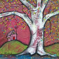 Pink House and Tree, ORIGINAL Mixed Media Painting, 9 x 9 on Etsy, $60.00