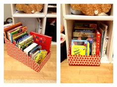 The Intentional Momma: Diaper Box Book Bin (we use cloth diapers though...is it creepy to advertise on Craig's List for empty diaper boxes?)
