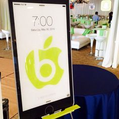 Lucite iPhone Sign-in Board for Bar & Bat Mitzvah Theme by The Showplace Floral Design & Event Decor - mazelmoments.com