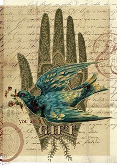 Shelley Kommers -- You are a Gift - Shelley Lane -- digital collage using vintage papers, ornaments and dover clip art. Symbol Hand, Art Du Collage, Digital Collage, Dream Collage, Art Postal, Photocollage, Art Et Illustration, Pics Art, Art Journal Inspiration