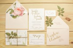 Wedding Invitation Suite, Calligraphy/ Hand-Lettered Invitations by Blooming House Collective