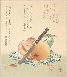 Persimmons on a Plate  Kubo Shunman  (Japanese, 1757–1820)  Period: Edo period (1615–1868) Date: 19th century Culture: Japan Medium: Polychrome woodblock print (surimono); ink and color on paper