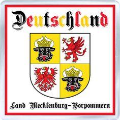 Acrylic Fridge Magnet: Germany. Coat of Arms of Mecklenburg-Vorpommern (Land Mecklenburg-Vorpommern)