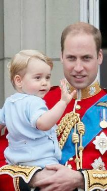 Prince George makes his first appearance on the balcony at Buckingham Palace for Trooping the Colour on June 13, 2015. He wore the same outfit his Dad wore when he first appeared on the balcony at the same event on June 16, 1984.