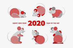 Rat is a symbol of the 2020 Chinese New Year. Holiday vector illustration of Zodiac Sign of rats decorated with geometric pattern. Greeting card in Oriental style with mice, circle elements - Shutterstock Premier