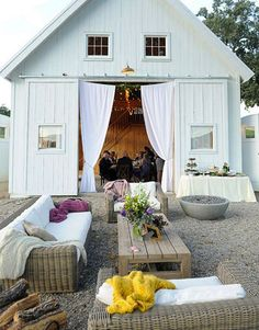 Neat design!! love the curtans over the open doors --- could do that on the garage doors at spruce?? There is some outdoor sitting area at Spruce too - putting blankets out would be great for people who want to watch the dancing if the air gets cooler? May not be a problem in July... Fabulous Farm Weddings » Alexan Events | Denver Wedding Planners, Colorado Wedding and Event Planning