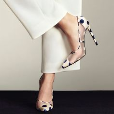 Beautiful, Charming Clear Heels Ivory and Navy Polka Dots Pointy Toe Stiletto Heels Pumps you best choice for Work, Formal event, Date -TOP Design by FSJ Stilettos, Pumps Heels, Stiletto Heels, High Heels, Prom Heels, Pretty Shoes, Beautiful Shoes, Clear Heels, Dream Shoes