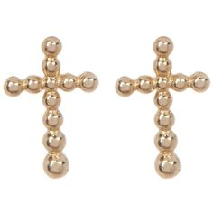 Candela 14K Yellow Gold Beaded Cross Stud Earrings (45 CAD) ❤ liked on Polyvore featuring jewelry, earrings, gold, gold earrings, 14k yellow gold earrings, stud earrings, gold bead earrings and post earrings