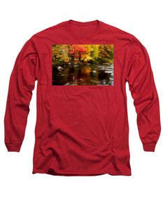 Autumn Foliage New England Long Sleeve T-Shirt featuring the photograph Autumn Colors Reflected by Jeff Folger