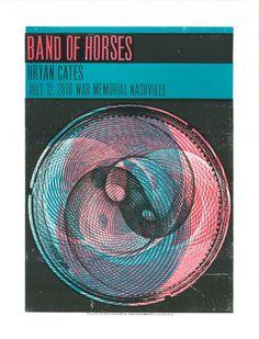 Print Mafia - Band Of Horses  3 color spirograph