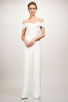 Rehearsal dinner dress idea for bride-to-be- white jumpsuit with off-the-shoulder neckline {Theia Couture} von Little White Dresses 10 Rehearsal Dinner Dresses and Outfits to Slay the Night Wedding Jumpsuits For Brides, Wedding Dress Types, Wedding Dresses, Wedding Pantsuit, Jumpsuit Elegante, Theia Bridal, Bridal Gown, Rehearsal Dinner Outfits, Wedding Outfits