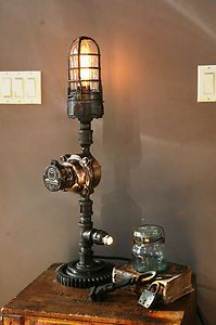 Lighting and Tables made from re-purposed Iconic Americana Pipe Lighting, Industrial Lighting, Vintage Lighting, Cool Lighting, Lighting Ideas, Lighting Design, Steampunk Design, Steampunk Lamp, Machine Age