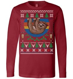 "Sloth Ugly Christmas Canvas LS T-Shirt Show your sense of humor by wearing this ""Sloth Ugly Christmas Canvas LS T-Shirt"" when you show up to your next work Christmas party or friends and fa. Ugliest Christmas Sweater Ever, Ugly Christmas Sweater, Christmas Canvas, Family Christmas, Wholesale T Shirts, Being Ugly, Sloths, T Shirts For Women, Humor"