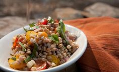 Farro, Sungold and Basil Backyard Salad.  Great to make ahead for a BBQ!  Recipe prepared by Chef Duskie Estes on Bringing It Home with Laura McIntosh