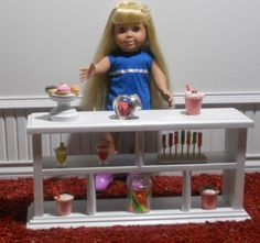 shelf all hand made from wood American Girl Bakery, American Girl House, American Girl Crafts, American Girl Furniture, Starbucks Store, Shop Counter, Wooden Dolls, Ag Dolls, Doll Furniture