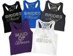 NEW Custom Wedding Tank Tops at AdvantageBridal.com; rhinestone bridal party tanks; racerback wedding tanks