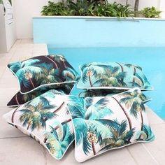 Tropical Palm trees lagoon Cushion, Cushions