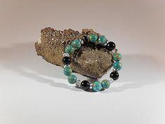 Elegenates Steinperlen-Armband, handgefertigtes Einzelstück, Länge ca. 19 mm, grüngesprenkelte Steinperlen 12 mm, facettierte Glasperlen mit Glanz 8 mm