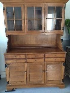 Early Ethan Allen China Cabinent Hutch Southwest Style EthanAllen