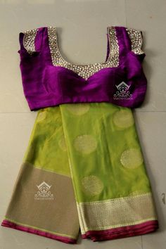 olive green benaras saree with violet designer blouse from varuni gopen collections Purple Saree, Green Saree, Purple Blouse, Indian Blouse, Indian Sarees, Saree Blouse Designs, Blouse Patterns, Salwar Designs, Indian Dresses