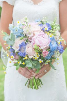 Peony Rose Daisy Bouquet Flowers Bride Bridal Pink Blue Floral Pretty Country Garden Wedding http://lisahowardphotography.co.uk/