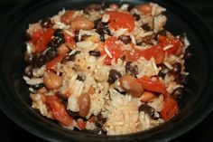 Crockpot beans and rice with tomato. This is easy because everything is out of the pantry. My only addition would be to top it off with some avocado.