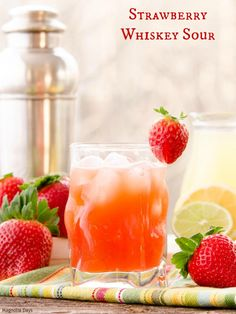 Strawberry Whiskey Sour is a fruity twist to a classic cocktail. Homemade sour mix and fresh strawberries make it over the top.