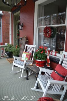 christmas porch | Christmas Front Porch - Home Stories A to Z Love the Santa pillow - red pillow and black belt from thrift store