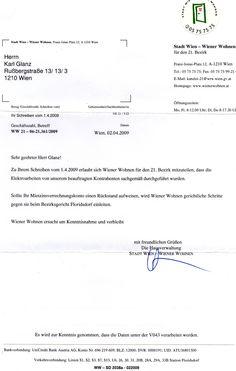 Brief von Wiener Wohnen Writing, Homes