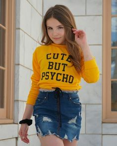 Cute but psycho 🤠 DOUBLE TAP if my shirt describes someone you know. Preteen Girls Fashion, Teen Fashion, Fashion Outfits, Fashion Trends, Cute Girl Outfits, Cute Girls, Look, How To Wear, Clothes