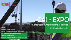 #CONSTRUCTION #ARCHITECTURE #INTERIOR #DESIGN #EVENTS #EXHIBITION 2017 CAI ( #Construction #Architecture & #Interior ) 2017 is the ideal opportunity for your organization to access major developers, contractors, and clients procuring work. One can gain access to a competitive construction boom across India! This is a Build & #Design #Exhibition of ingenious #designs and #construction facets. CAI brings to you and amalgamation of an exquisitely informative collection of modern technologies…