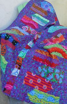 Directional Quilt in Kaffe Fassett -- free pattern on the blog
