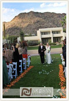 The bride escorted down the aisle at JW Marriott Camelback Inn Resort & Spa. Credit: Artisan Photography #weddings