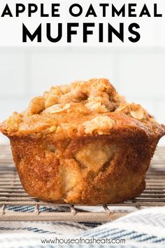 Apple Oatmeal Muffins make a great breakfast or quick afternoon snack. Filled with apples, cinnamon, and oatmeal, then topped with an easy oat streusel, these apple muffins are an easy grab and go breakfast. #apple #oatmeal #muffins #breakfast #fall #recipe