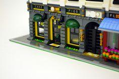 https://flic.kr/p/rEBtkq | Bakery - Loft Apartments & Shops | My 19th custom modular Lego building; an apartment building with six lofts and three street-level shops.