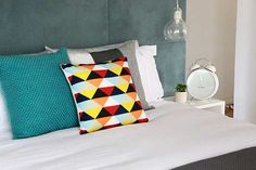 The Block Sky High: Room Reveal: Bec + George's master bedroom Interior Styling, Interior Design, Interior Ideas, Colorful Pillows, Design Files, Sky High, Floor Chair, Master Bedroom, Sweet Home