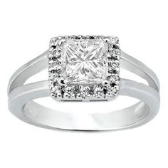 Princess Diamond Split Shank Halo Engagement Ring.  If this had a pink diamond center stone it would be perfect!