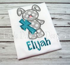 Cute Boys Bunny with Cross Appliqued and Monogrammed Easter Shirt. $24.00, via Etsy.