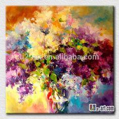 Coloridos de la flor abstracta moderna de la lona pintura al óleo